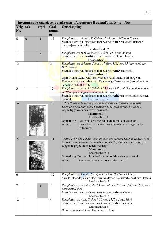 101 Inventarisatie waardevolle grafstenen . Algemene Begraafplaats te Nes Volg Nr. vak regel Graf numm er Omschrijving 0 A...