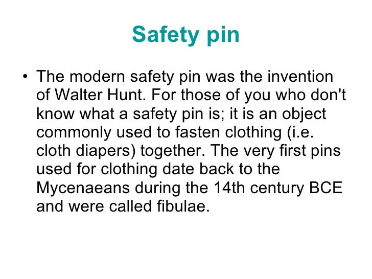 Walter Hunt Safety Pin