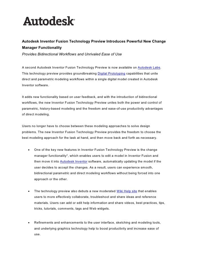Autodesk Inventor Fusion Technology Preview Introduces Powerful New Change Manager Functionality Provides Bidirectional Wo...