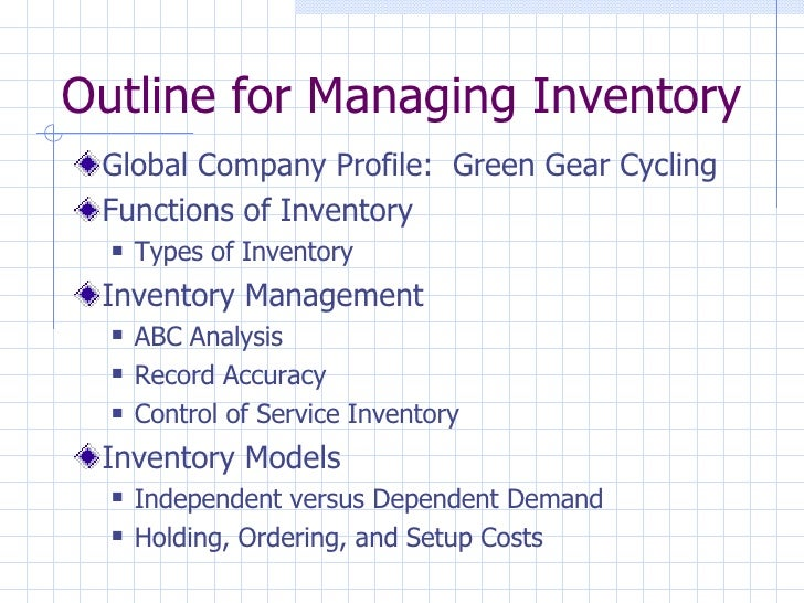 Outline for Managing Inventory <ul><li>Global Company Profile:  Green Gear Cycling </li></ul><ul><li>Functions of Inventor...
