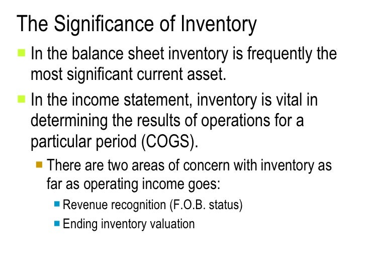 The Significance of Inventory <ul><li>In the balance sheet inventory is frequently the most significant current asset. </l...