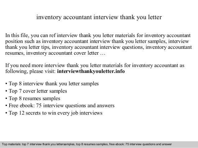 inventory accountant interview thank you letter in this file you can ref interview thank you - Stock Accountant Sample Resume