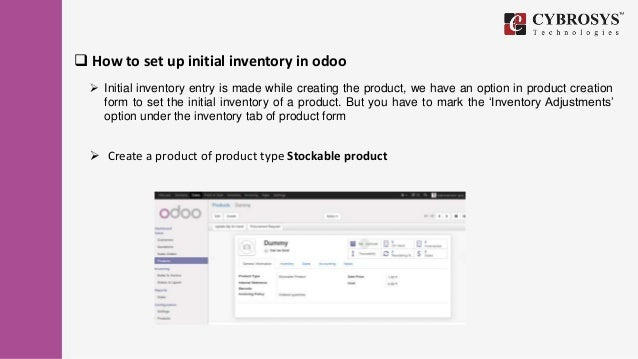 Inventory adjustment in odoo