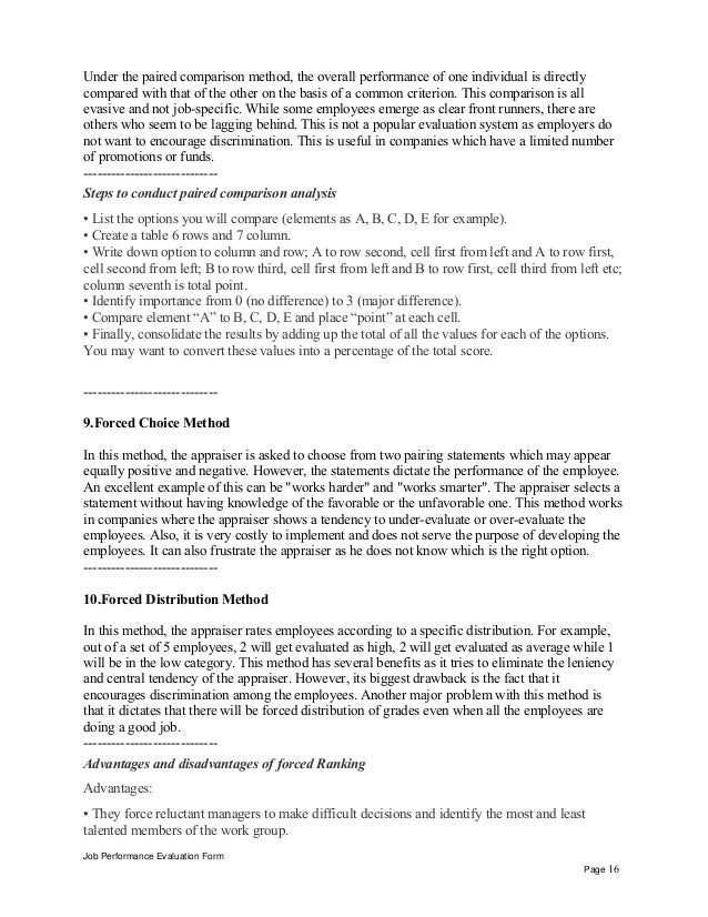 job performance evaluation form page 15 16