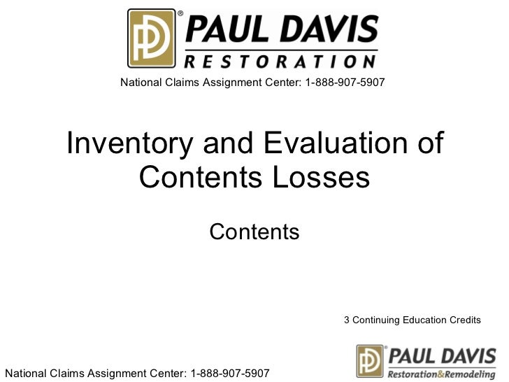 Inventory and evaluation of contents loss sa17245