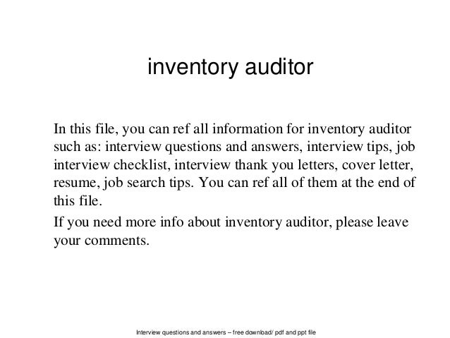 Interview Questions And Answers U2013 Free Download/ Pdf And Ppt File Inventory  Auditor In This ...