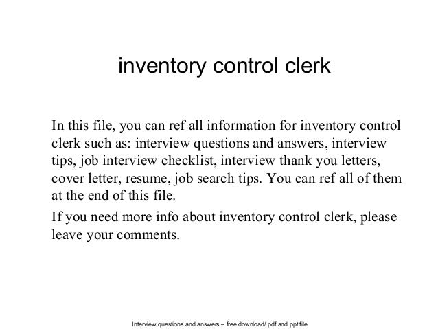 Interview Questions And Answers U2013 Free Download/ Pdf And Ppt File Inventory  Control Clerk In ...