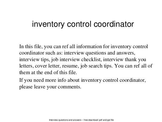 control coordinator – Inventory Control Coordinator