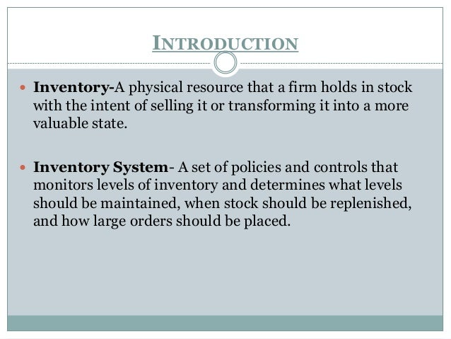 conclusion about inventory system In conclusion as you can see the importance of inventory management is very from management 4504 at palm beach community college.