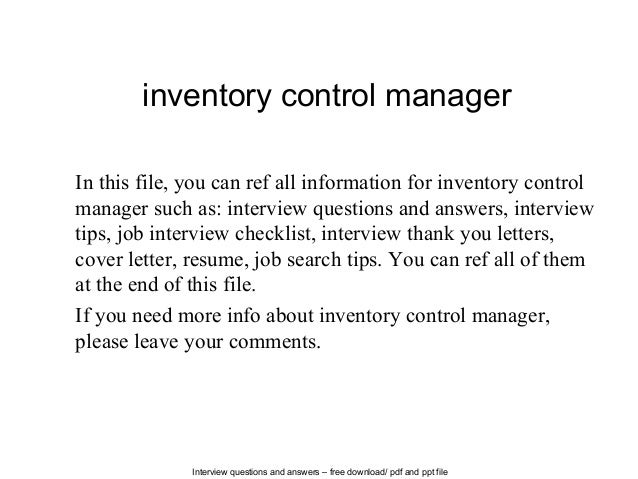 Interview Questions And Answers U2013 Free Download/ Pdf And Ppt File Inventory  Control Manager In ...