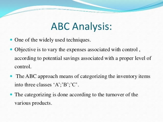 full form of abc in inventory management