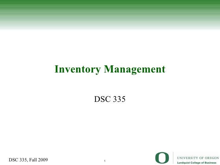 Inventory Management DSC 335