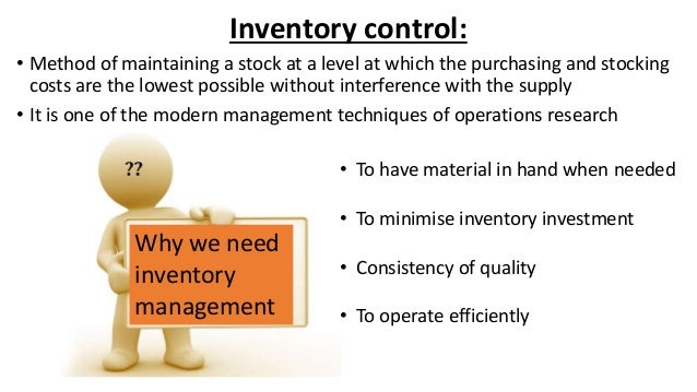 Inventory management principles