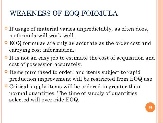 disadvantages of eoq