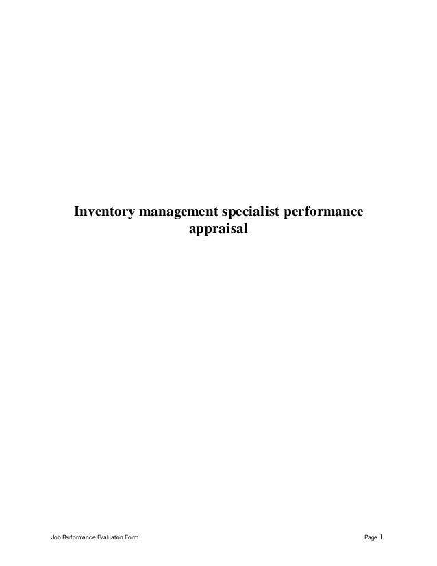 Job Performance Evaluation Form Page 1 Inventory management specialist performance appraisal