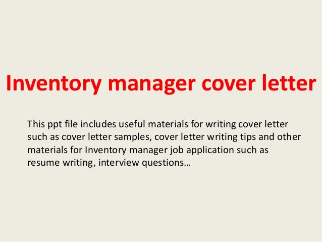 Inventory control coordinator cover letter | Term paper Academic ...