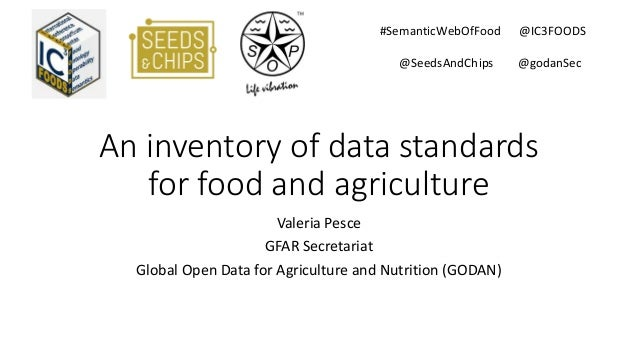 An inventory of data standards for food and agriculture Valeria Pesce GFAR Secretariat Global Open Data for Agriculture an...