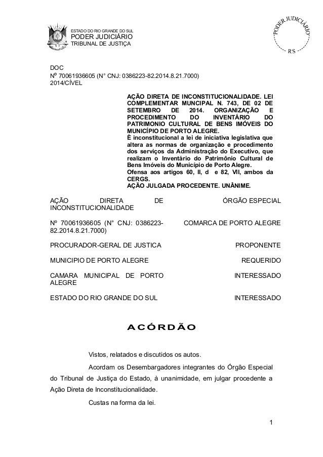 ESTADO DO RIO GRANDE DO SUL PODER JUDICIÁRIO TRIBUNAL DE JUSTIÇA DOC Nº 70061936605 (N° CNJ: 0386223-82.2014.8.21.7000) 20...