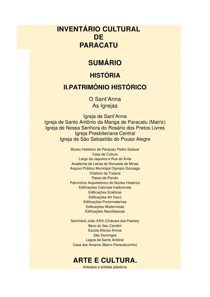 INVENTÁRIO CULTURAL             DE          PARACATU                      SUMÁRIO                       HISTÓRIA        II...