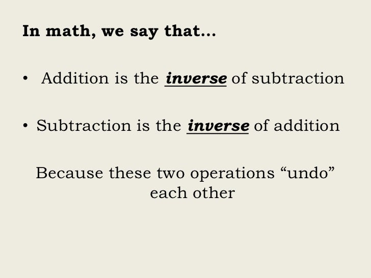 inverse relationship addition and subtraction