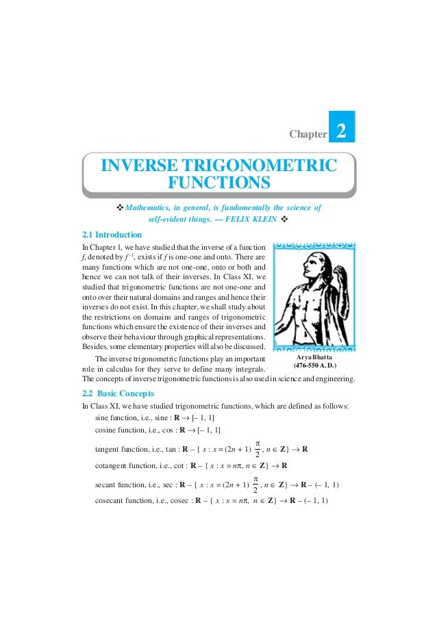 Chapter         2      INVERSE TRIGONOMETRIC            FUNCTIONS              Mathematics, in general, is fundamentally t...