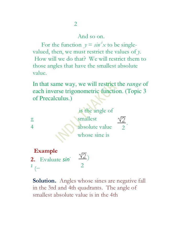 Inverse trigonometric functions xii 1 – Inverse Trig Worksheet
