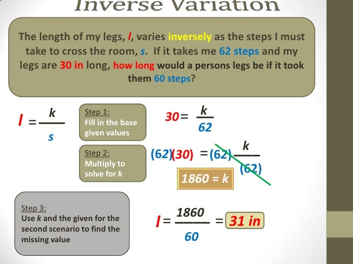 how to solve inverse variation