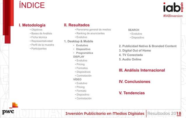#IABInversión ÍNDICE I. Metodología • Objetivos • Bases de Análisis • Ficha técnica • Representatividad • Perfil de la mue...