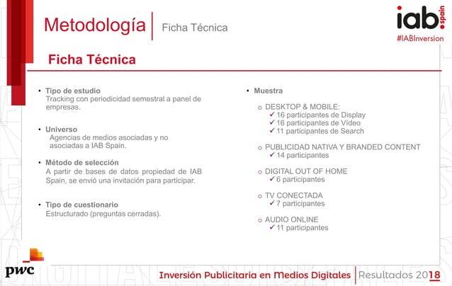 #IABInversión Metodología Ficha Técnica Ficha Técnica • Tipo de estudio Tracking con periodicidad semestral a panel de emp...
