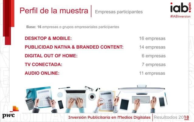 #IABInversión Perfil de la muestra Empresas participantes DESKTOP & MOBILE: 16 empresas PUBLICIDAD NATIVA & BRANDED CONTEN...