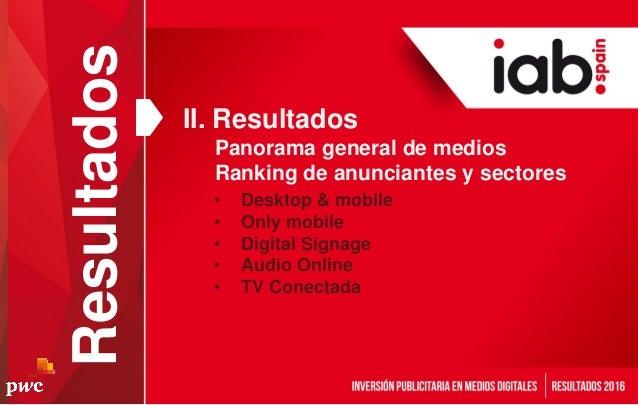Resultados • Desktop & mobile • Only mobile • Digital Signage • Audio Online • TV Conectada II. Resultados Panorama genera...