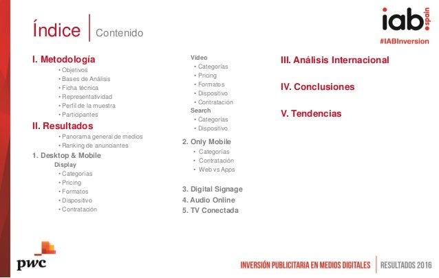 2. Only Mobile • Categorías • Contratación • Web vs Apps 3. Digital Signage 4. Audio Online 5. TV Conectada I. Metodología...