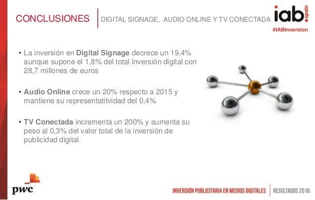 • La inversión en Digital Signage decrece un 19,4% aunque supone el 1,8% del total inversión digital con 28,7 millones de ...