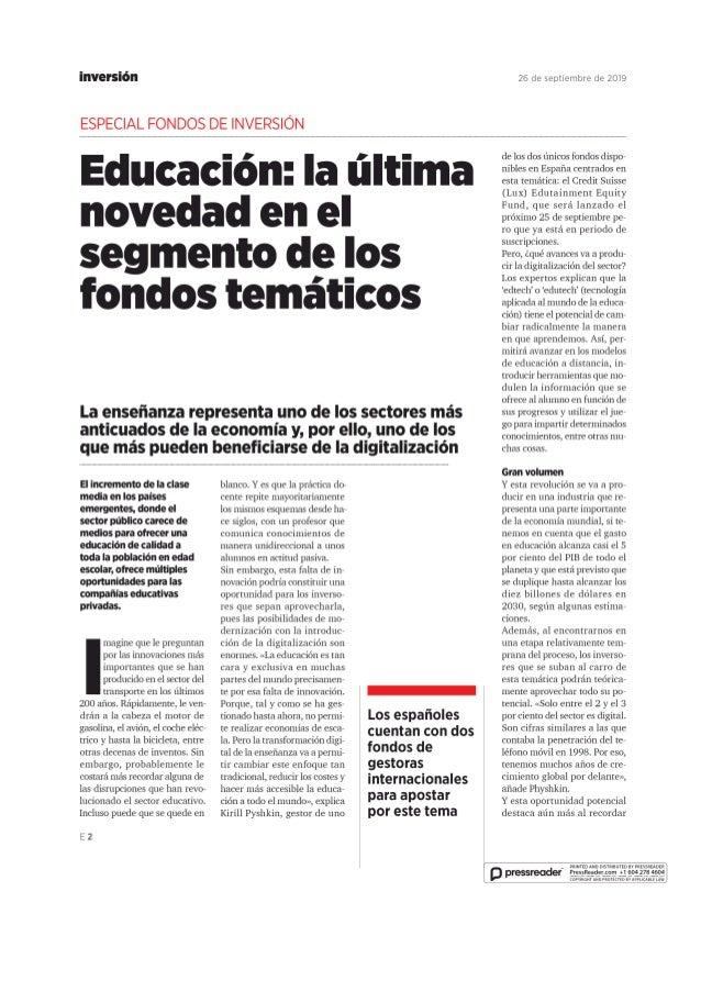 Educación: la ultima novedad en el segmento de los fondos temáticos
