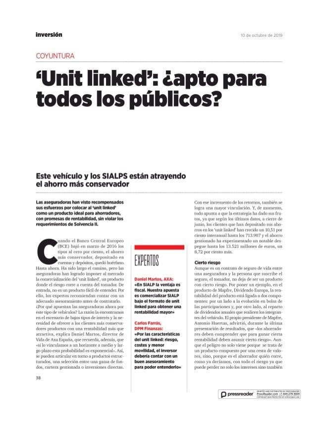Unit Linked ¿apto para todos los públicos?