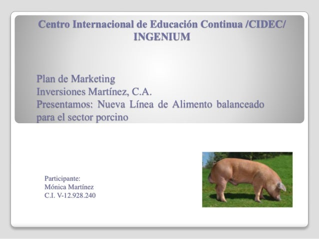 Centro Internacional de Educación Continua /CIDEC/ INGENIUM Plan de Marketing Inversiones Martínez, C.A. Presentamos: Nuev...