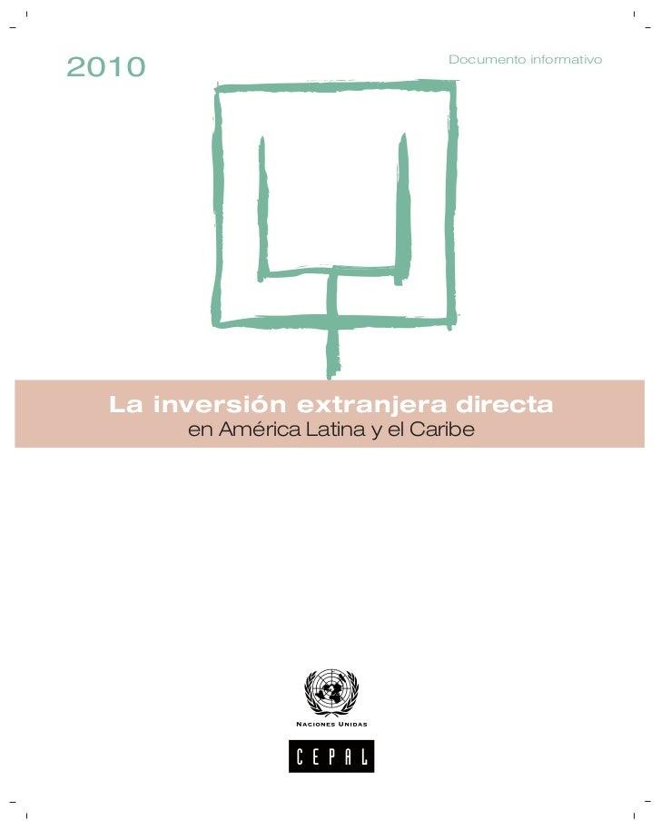 Documento informativo2010  La inversión extranjera directa       en América Latina y el Caribe