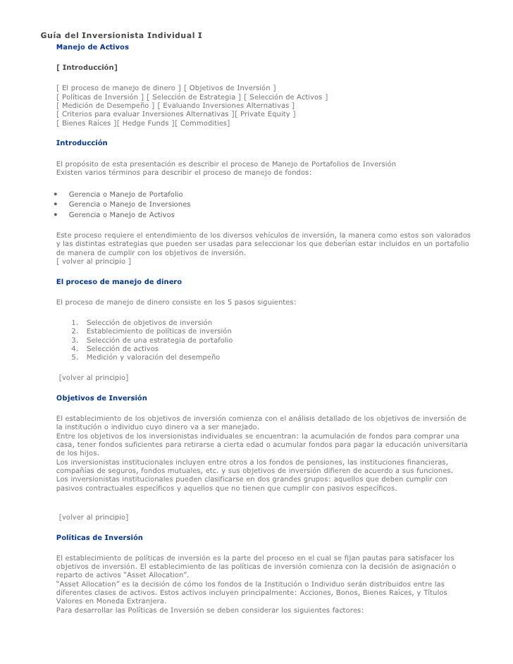 Guía del Inversionista Individual I    Manejo de Activos     [ Introducción]     [   El proceso de manejo de dinero ] [ Ob...