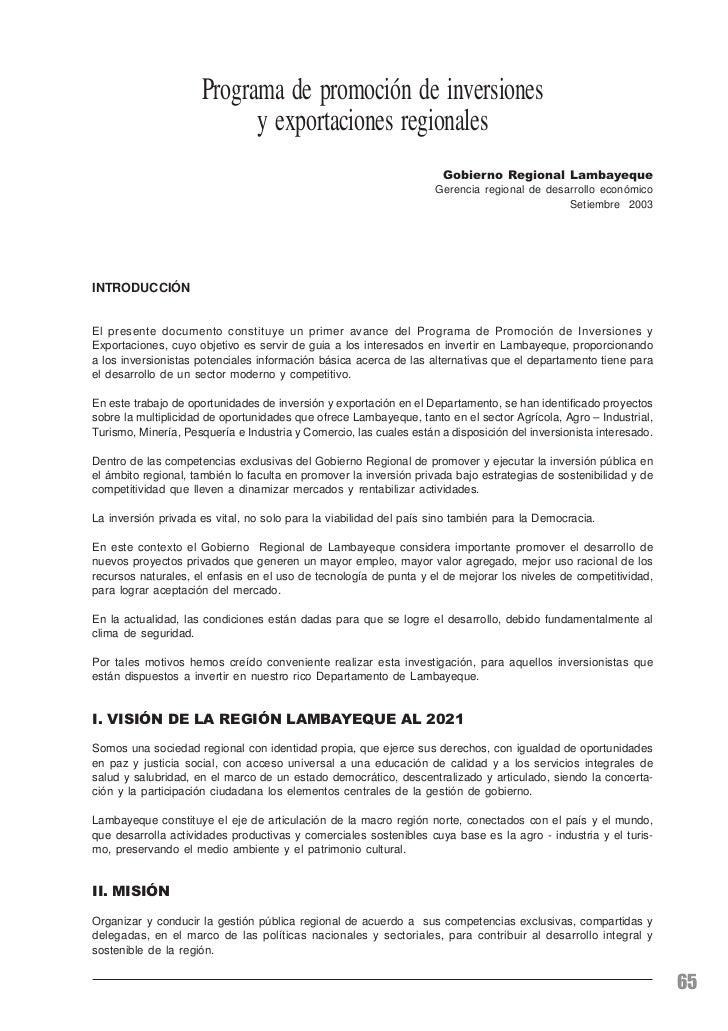 Política y priorización de intervención del Gobierno Regional Lambayeque                         Programa de promoción de ...