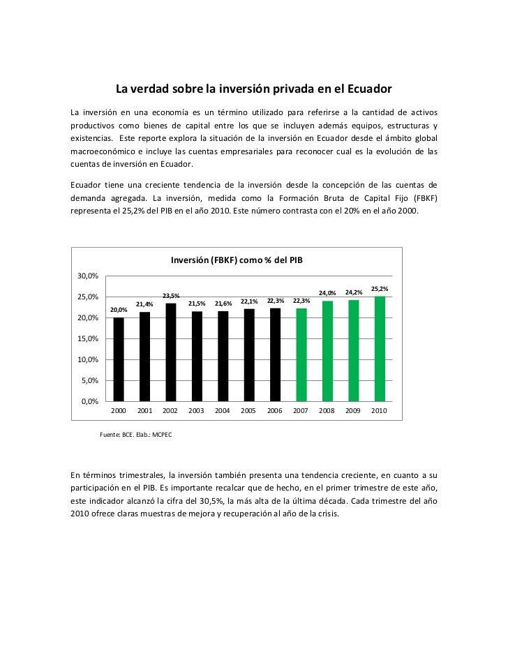 LA VERDAD SOBRE LA INVERSIÓN PRIVADA EN EL ECUADORLa inversión en una economía es un término utilizado para referirse a la...