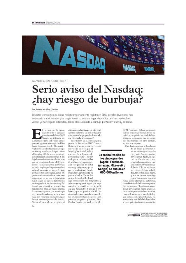 Serio aviso del Nasdaq: ¿hay riesgo de burbuja?