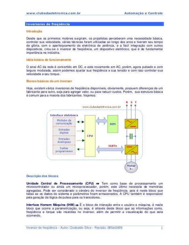 www.clubedaeletronica.com.br Automação e Controle Inversores de freqüência Introdução Desde que os primeiros motores surgi...