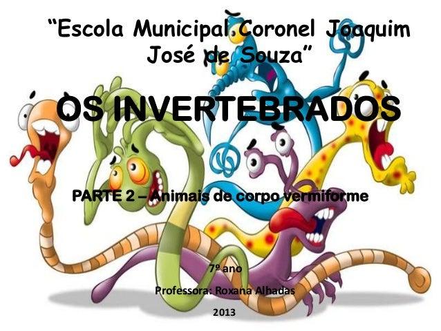 """""""Escola Municipal Coronel Joaquim José de Souza""""  OS INVERTEBRADOS PARTE 2 – Animais de corpo vermiforme  7º ano Professor..."""