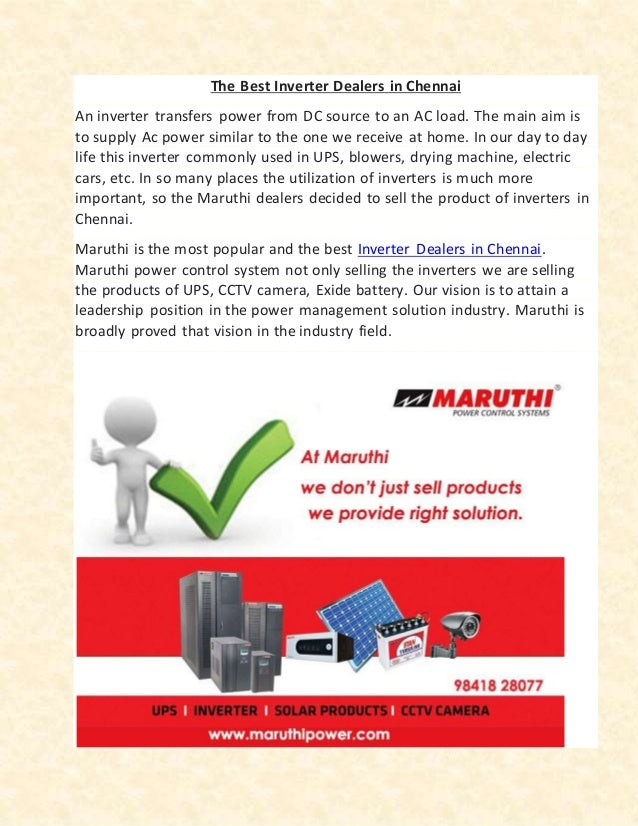 The Best Inverter Dealers in Chennai | Maruthi Power Control Systems