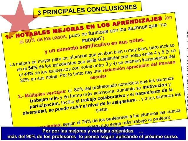 """1.- NOTABLES MEJORAS EN LOS APRENDIZAJES (en el 80% de los casos, pues no funciona con los alumnos que """"no trabajan"""") y un..."""