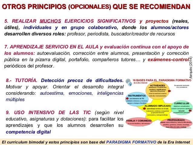 El curriculum bimodal y estos principios son base del PARADIGMA FORMATIVO de la Era Internet PereMarquès(2014) OTROS PRINC...