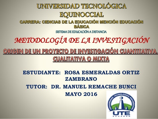 SISTEMADE EDUCACIÓNA DISTANCIA METODOLOGÍA DE LA INVESTIGACIÓN ESTUDIANTE: ROSA ESMERALDAS ORTIZ ZAMBRANO TUTOR: DR. MANUE...