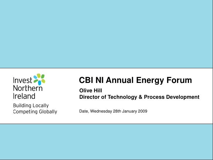 CBI NI Annual Energy Forum Olive Hill Director of Technology & Process Development  Date, Wednesday 28th January 2009