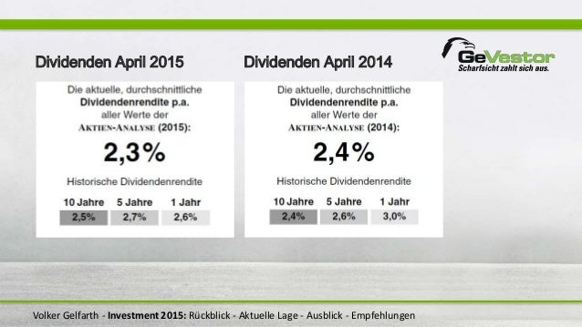 Volker Gelfarth - Investment 2015: Rückblick - Aktuelle Lage - Ausblick - Empfehlungen Dividenden April 2015 Dividenden Ap...