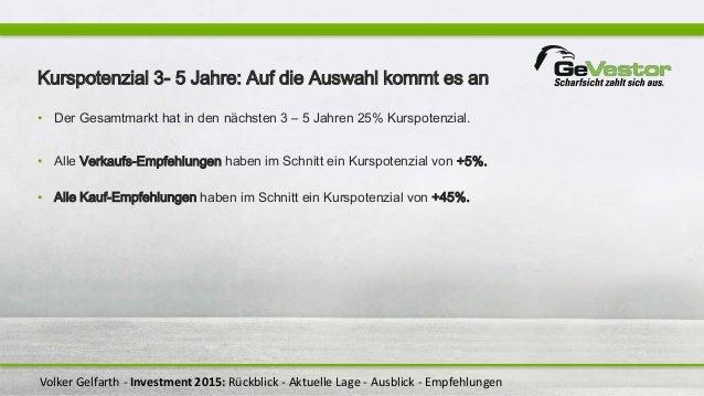 Volker Gelfarth - Investment 2015: Rückblick - Aktuelle Lage - Ausblick - Empfehlungen Kurspotenzial 3- 5 Jahre: Auf die A...